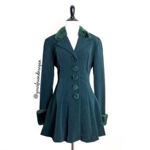 Vintage Cache Green Fit and Flare Coat